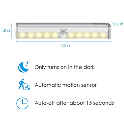 AMIR Motion Sensor Closet Lights, DIY Stick-on Anywhere Portable 10-LED Wireless Cabinet Night/Stairs/ Step Light Bar with Magnetic Strip Battery Operated (Warm White - Pack of 6) by AMIR (Image #4)