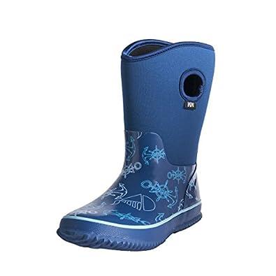 Amazon.com | Fuyang Boys' Rain Snow Warm Mid Calf Boots