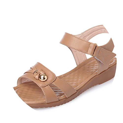 (Kingwhisht Women slippers Wedges Sandals Gladiator Sandals Low Heels Casual Sandals Big)
