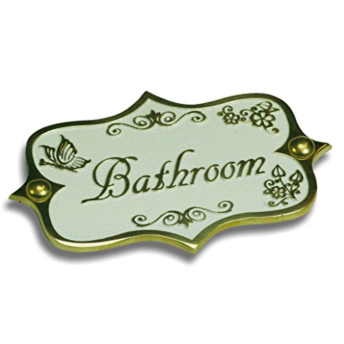 Vintage Style Bathroom Plaque. Cast Shabby Chic Brass Sign Hand Made