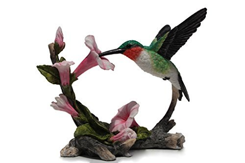 Hummingbird Statue (5.75 Inch Ruby Throated Hummingbird Statue Figurine, Pink and Green by Unknown)