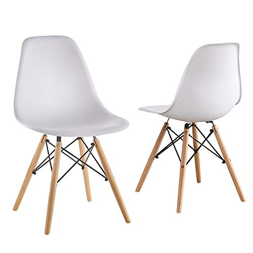 Mid Century Modern Eames Style White armless PP Plastic Chair Set of 2 Side Chair with Beech Wood Leg for Kitchen, Office,Dining, Coffee Shop,Living Room to Easy Assemble and Clean(White【PP 2pcs】) ()