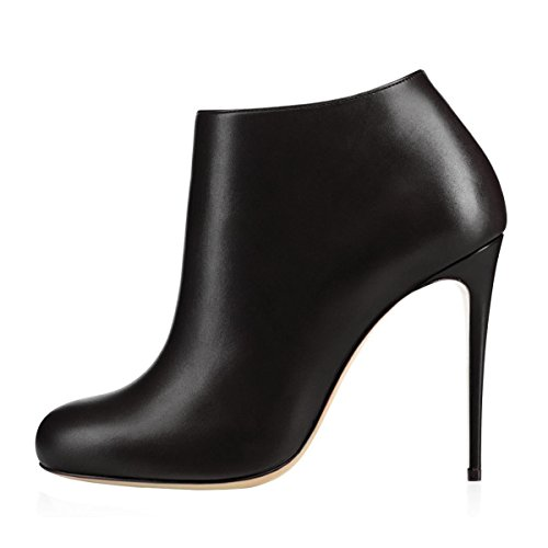 Short Classic Heels Toe Round Thin matte Ankle Boots for Black Shoes Bootie MERUMOTE Women nxC6FwTvzq