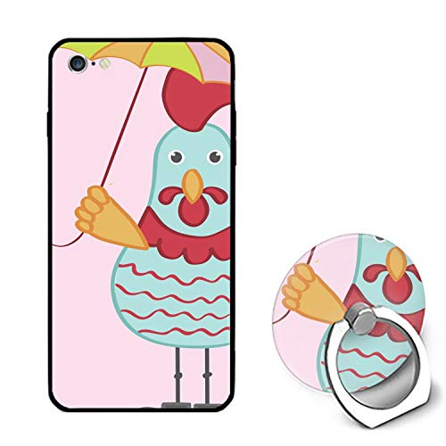 Cute Cartoon Rooster Character iPhone 6 Case,iPhone 6s Cover Shockproof Shell Ring Bracket Compatible for iPhone 6/6S (4.7-inch)