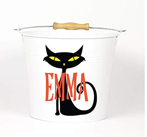 Personalized Halloween Black Cat Name Pail - Bucket - Choose The Color -