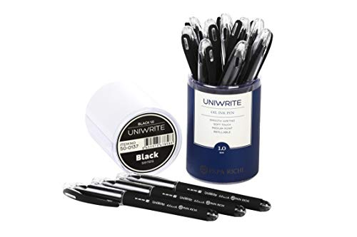 (Papa Richi Luxury Oil Pens UNIWRITE (Pack of 12) with Kernel 1.0mm - Premium Quality & Easy Writing - Original (Blue) Ink or Black Ink - Business Gift Pens - 30 Day Warranty (Uniwrite 12 pens, Black))