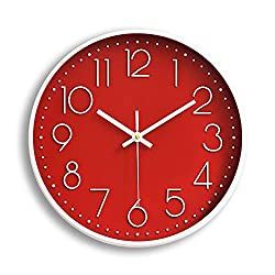 FlorLife Kitchen Wall Clocks Retro Vintage Style Non Ticking Wall Clock Battery Operated Quartz Analog Silent Movement Large Decorative Clock Arabic Numerial Red Dial for Home Office Decor