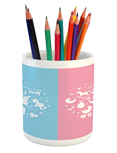 - Ambesonne Gender Reveal Pencil Pen Holder, Cute Icons Girls Boys Baby Shower Theme Stylized Toys Pattern, Printed Ceramic Pencil Pen Holder for Desk Office Accessory, Sky Blue and Pale Pink