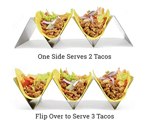 TR3MARK Taco Holder Stand Rack Metal 2 Pack Bundle w/ 2 Salsa/Guacamole Cups - Premium Stainless Steel 2 and 3 Pocket - Oven, Grill, Dishwasher Safe - Soft/Hard Taco Holder