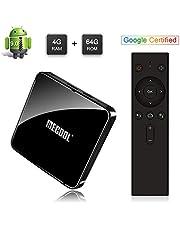 Sidiwen Mecool KM3 Android 9.0 TV Box con Control Remoto de Voz Google Certified 4GB RAM 64GB ROM Amlogic S905X2 Quad Core Dual WiFi 2.4G/5G Ethernet Bluetooth USB 3.0 Soporte 3D 4K HDR Ultra HD