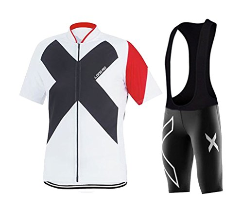 WWL Fashion Mens Cycling Jersey Breathable Full-zipper Comfortable Cycling Top Tight Bib(Short) Set For Outdoor