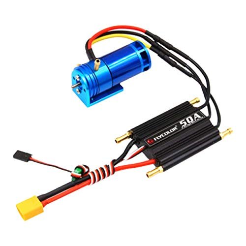 Cinhent 2-4S 2862-2800KV Water Cooled Brushless Outrunner Motor+50A ESC Electric Speed Controller for RC Boat RC Model Airplane Multicopter Helicopter Airplane