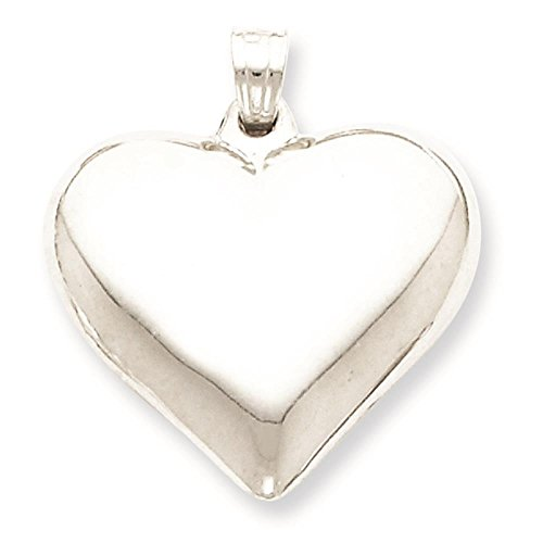 925 Sterling Silver Polished Puffed Heart Charm Pendant 21mm x 23mm