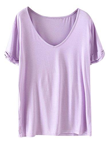 SheIn Women's Summer Short Sleeve Loose Casual Tee T-Shirt Light Purple#1 Large