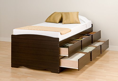 Espresso Tall Twin Captain's Platform Storage Bed with 6 Drawers (Bed With Drawers)