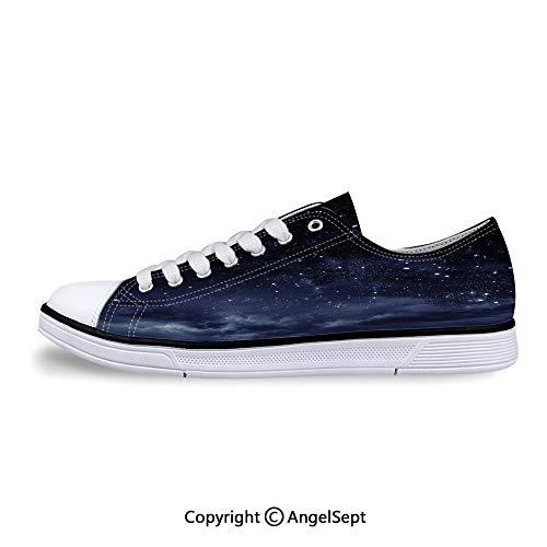 Low Top Rubber Sole Canvas Shoes The Dark Sky Atmosphere Nebula Sneaker Cosmic Flat Back Rhinestones
