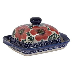 Traditional Polish Pottery, Handcrafted Ceramic Butter Dish with Lid, Boleslawiec Style Pattern, B.101.MALLOW