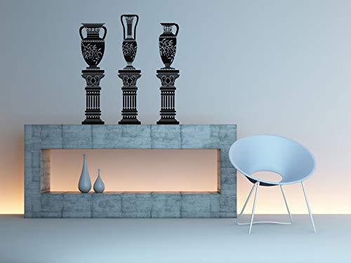 (Vinyl Sticker Urn On Columns Greek Vase Jar Jug Amphora Vine Emblem Ornament Architecture Mural Decal Wall Art Decor SA2269)