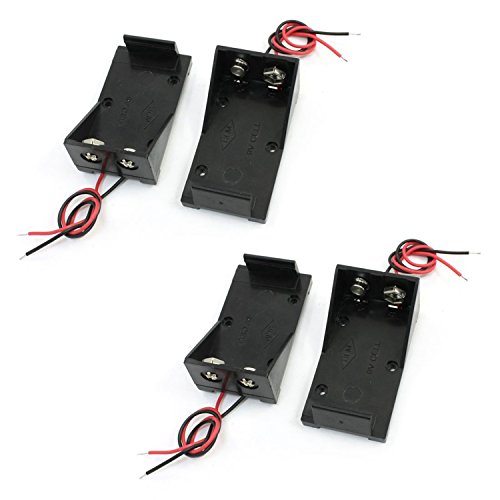 Saim Wire Leads Battery Storage Case Slot Holder for 9V Battery Pack of 4 ()