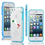 Apple iPhone 4 4s Ultra Thin Transparent Clear Hard TPU Case Cover Italy Italian Flag (Light Blue)