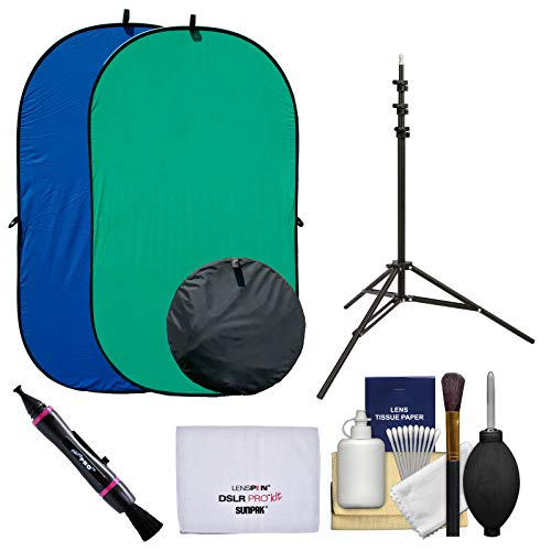 RPS Studio 4x7 Chroma Key Blue/Green Screen Reversible Twist-Fold Background with Light Stand + Cleaning Kit