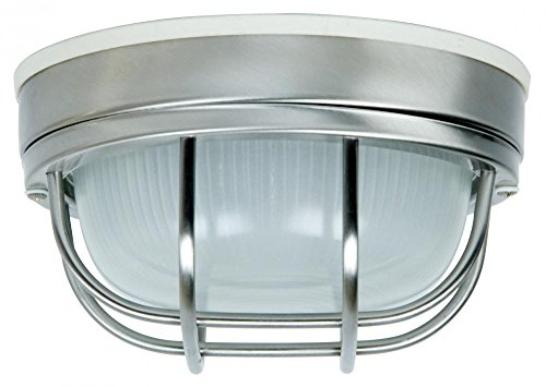 Exteriors Z394-56 Bulkhead 1 Light Flush Mount Light Fixture with Frosted Holophane Glass, Small, Stainless Steel (Small Bulkhead)