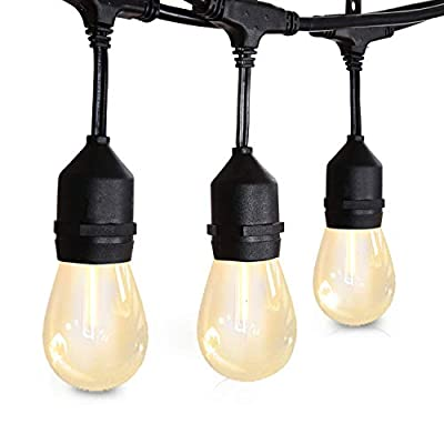 Amico 48FT LED Outdoor String Lights - Weatherproof Vintage Dimmable Edison Plastic Bulbs with 15 Sockets - Commercial Grade Patio Café Porch Market Backyard Hanging Lights