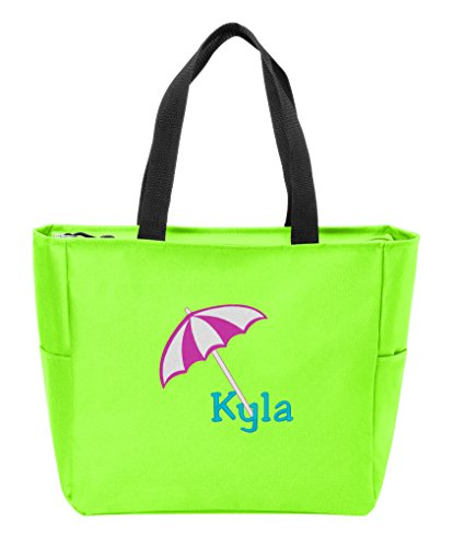 All About Me Company Zip Tote | Personalized Beach Umbrella Monogram Shoulder Bag (Neon Green) by ALL ABOUT ME