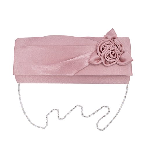 Premium Rose Floral Pleated Satin Flap Clutch Evening Bag, (Satin Flap Clutch)