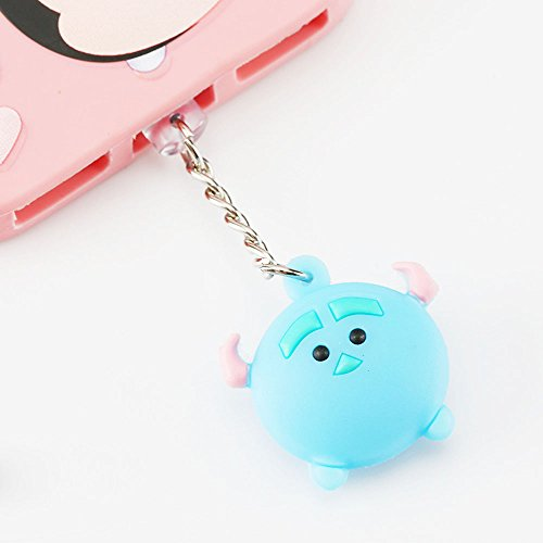 ZOEAST(TM) Sulley Mike Winnie Stitch Zootopia Dock Data Charging Port Dustproof Plug Charm iPhone 5 5S SE 6 6S 7 7S 8 Plus X IPad iPod (Blue Sulley, iPhone)]()