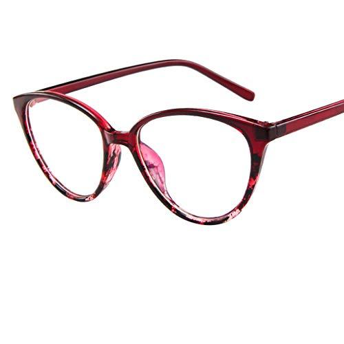 SSYongxia❤ Unisex Women Men Girls Retro Stylish Non-Prescription Eyeglasses Glasses Clear Lens Eyewear Glasses Red -