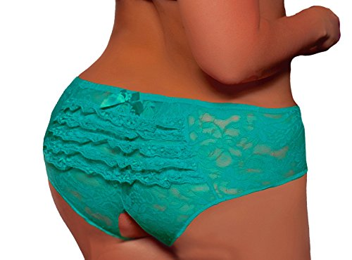 Lacy Line Plus Size Sexy Open Crotch Ruffled Back Floral Lace Panties (3x/4x,Turquoise)