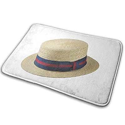 Reteone Fashion Doormat Cool Straw Hat Pattern Entrance Floor Rug 60X40CM Non-Slip Coral Velvet Indoor & Outdoor Door Mats for Home Decorative