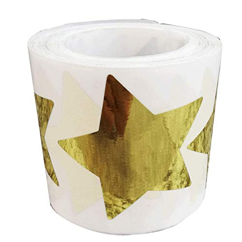 Christmas Foil Gold Star Stickers, 2 Inch Glitter Metallic Stars Self Adhesive Labels - Shiny Foil Teacher Supplies - Scrapbooking Party Favors (500 Per Roll)