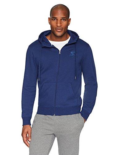 Starter Men's Zip-Up Embroidered Logo Hoodie, Amazon Exclusive, Team Navy, Extra Large