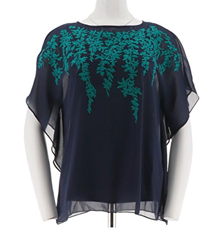 Bob Mackie Embroidered Floral Caftan Top Knit Tank Set A265364, Navy, (Bob Mackie Embroidered Blouse)