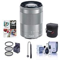 Canon EF-M 55-200mm f/4.5-6.3 IS STM Lens, Black - Bundle With 52mm UV Filter, Cleaning Kit, Lens Wrap (19x19), Lenscap Leash, Software Package