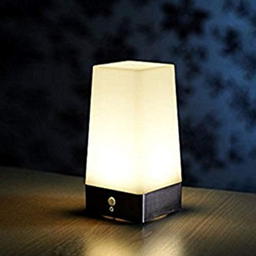 Inalámbrico Pir Sensor Movimiento LED Noche Luz Escritorio Mesa Lámparas Pilas Seguridad Escritorio Mesita de Noche Luz para Niños Dormitorio, Baño, Pasillo, Cocina - Negro: Amazon.es: Iluminación