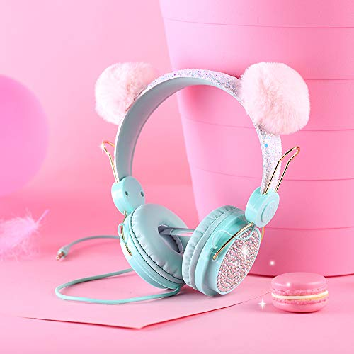 KORABA Kids Headphones Wired Girls Boys Glitter Headphones for Children,Cute Bear Ears with Microphone for School/Christmas/Birthday Gifts/Home/Travel (Green)