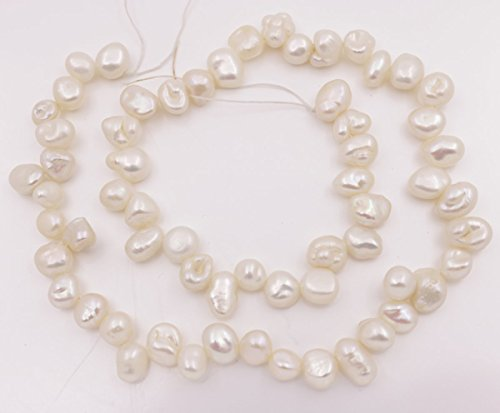 (6-10mm Top drilled natural white baroque keshi pearl loose beads 15 inches jewelry making)