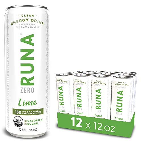 RUNA ZERO Organic Clean Energy Drink, Lime | High Caffeine Coffee Alternative | Sustained Energy Boost with No Jitters | Calorie Free & Sugar Free, 12 oz (Pack of 12)