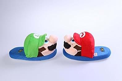Zapatillas blandas de ir por casa Hermanos Super Mario Brothers Rojo/Verde Talla para niños: 28-34