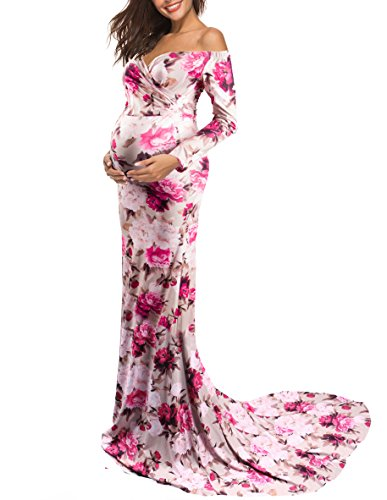 Saslax Maternity Elegant Fitted Maternity Gown Long Sleeve Slim Fit Maxi Photography Dress Sweetheart Taupe Plum S