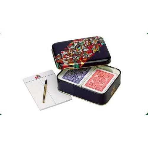 Modiano: Set Poker '' Scatola in Metallo Blu'' Metal Box with 2 Deck of 54 Cards [ Italian Import ] by Modiano