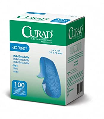 Curad Woven Blue Detectable Bandage, 100 Count