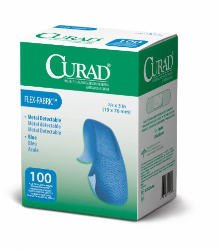 Curad Woven Blue Detectable Bandage, 100 Count -