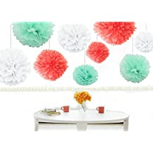 Kubert® 18pcs Mixed Sizes 8 10 14 Premium Tissue Paper Pom-poms Flower Ball Wedding Party Outdoor Decoration Birthday Party Baby Room Nursery Decoration - Coral, Mint Green & White by Kubert