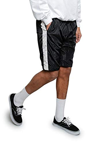 Victorious Men's Side Striped Drawstring Side Pocket Nylon Windbreaker Shorts JS19 - Black/White - Small - A9B ()