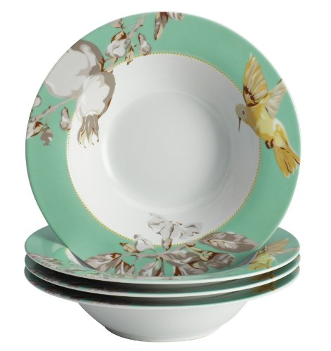 BonJour Dinnerware Fruitful Nectar Porcelain 4-Piece Soup/Pasta Bowl Set, Print