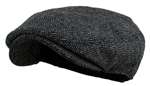 Men's Herringbone Tweed Wool Blend Snap Front Newsboy Hat (DK.Grey, SM) (Old Man Costume)
